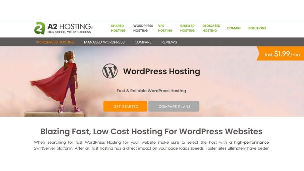 A2hosting WordPress Hosting in India