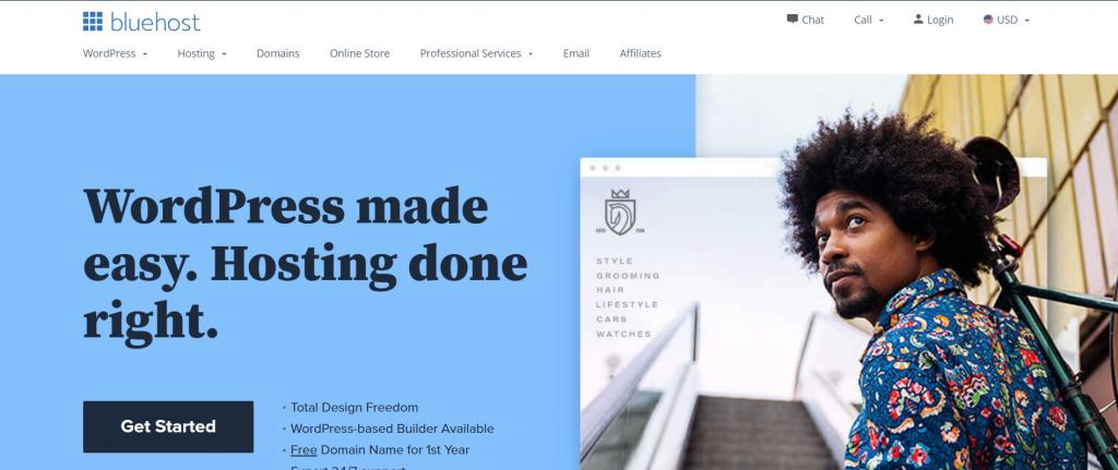 BlueHost best web hosting in Spain