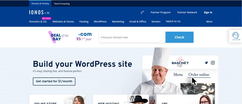 IONOS web hosting provider in Spain