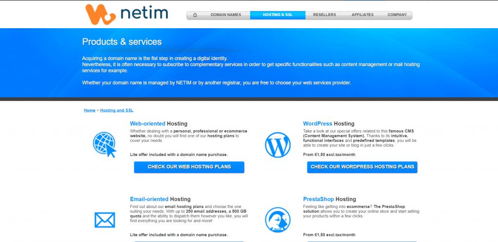 France web Hosting company Netim