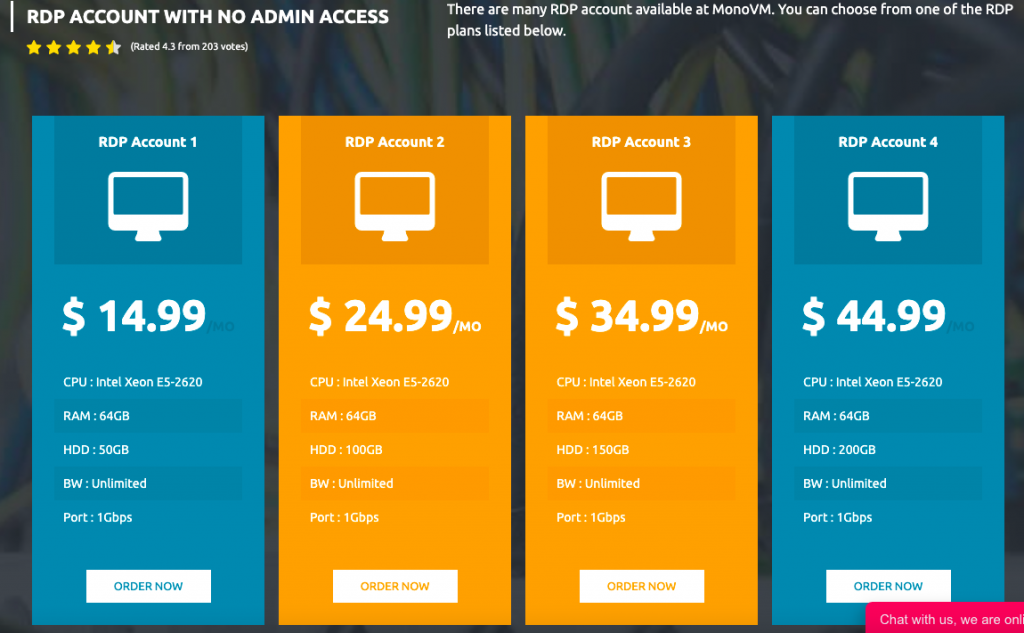 RDP ACCOUNT WITH NO ADMIN ACCESS