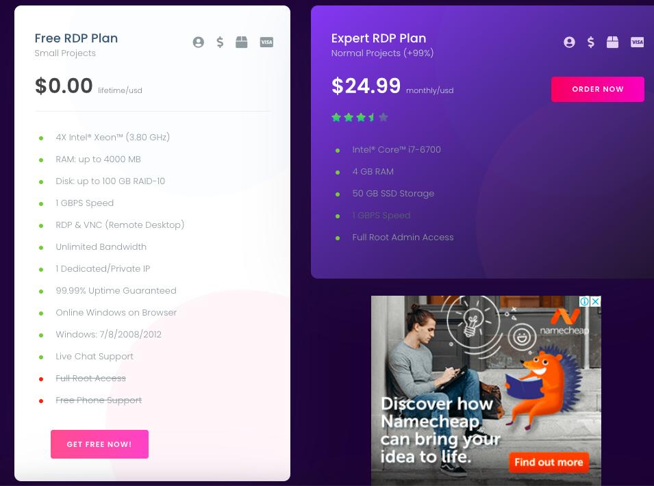 free rdp hosting plans