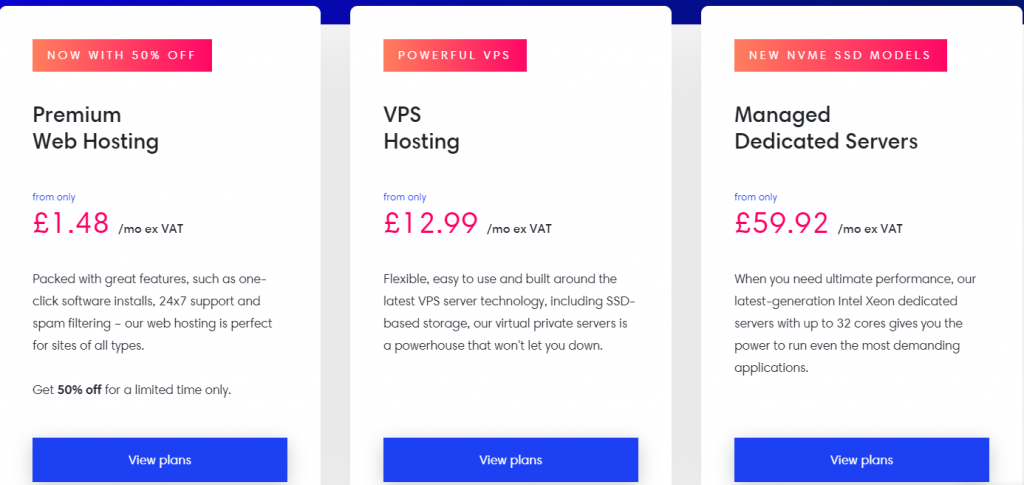 eUK Host Plans and pricing