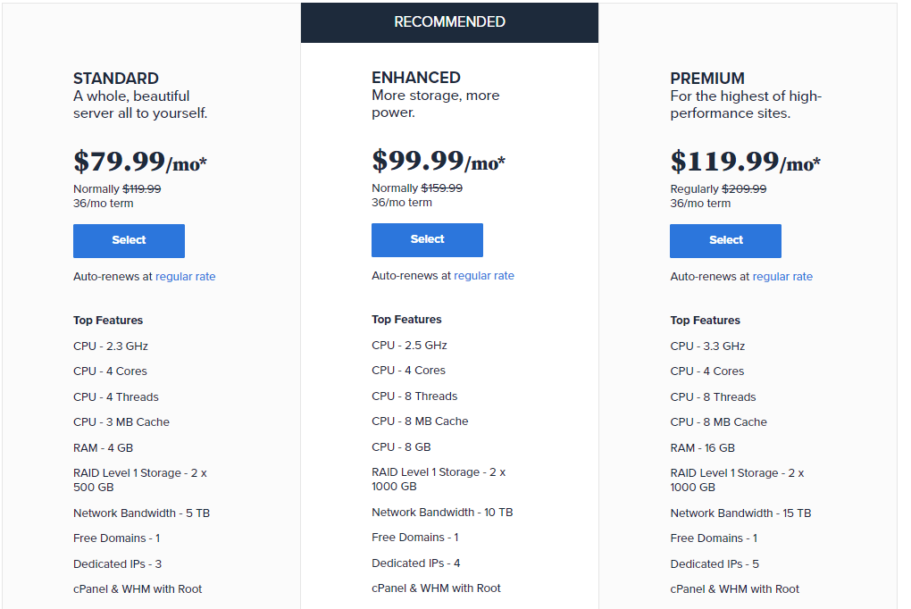 BlueHost dedicated plans